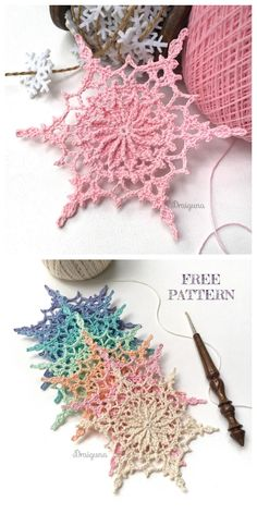 Wispweave Lace Snowflake free crochet pattern - knitting is as easy as . Wispweave Lace Snowflake free crochet pattern - knitting is as easy as 3 knitting comes down to three essential sk. Crochet Motifs, Thread Crochet, Crochet Crafts, Yarn Crafts, Crochet Hooks, Crochet Projects, Knit Crochet, Knit Lace, Crochet Doilies