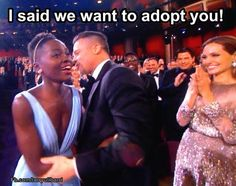 This is funny to me (the joke is about Brad and Angelina, not Lupita), but it does raise some questions: Is The Brad Pitt Whispering In The Ear Of Lupita Nyong'o At The Oscars Meme Truly Racist?