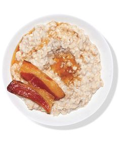 Classic breakfast accompaniments amp up a plain bowl of oatmeal. Get the recipe for Oatmeal With Bacon and Maple Syrup.