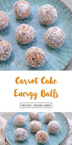 Recipe for healthy Carrot Cake Energy Balls (not only) for Easter based on dates. - Recipe for healthy Carrot Cake Energy Balls (not only) for Easter based on dates carrots almonds an - Healthy Carrot Cakes, Healthy Juice Recipes, Healthy Juices, Healthy Baking, Healthy Drinks, Healthy Snacks, Food Cakes, Clean Eating Recipes, Clean Eating Snacks