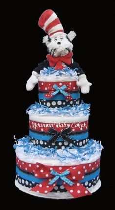 Seuss Baby Shower - The Cat in the Hat Baby Shower Diaper Cake Dr Suess Baby, Dr Seuss Baby Shower, Baby Boy Shower, Baby Shower Gifts, Baby Shower Diapers, Baby Shower Cakes, Baby Shower Parties, Bebe Shower, Nappy Cakes