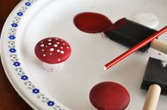 make your own toadstools for your fairy garden, diy home crafts, gardening, Use the wrong end of the paintbrush to dot the top of the dried toadstool with speckles