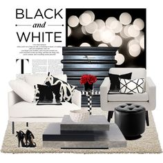 Black and White Living Room, created by stylejournals on Polyvore