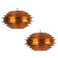 Pair of Swedish Carl Thore Pendant Lamp Chandelier Copper Verona | From a unique collection of antique and modern chandeliers and pendants  at http://www.1stdibs.com/furniture/lighting/chandeliers-pendant-lights/