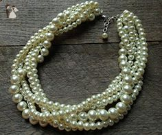 """Five Strand Ivory Braided Pearl Chunky Statement Necklace 24"""" - Wedding nacklaces (*Amazon Partner-Link)"""