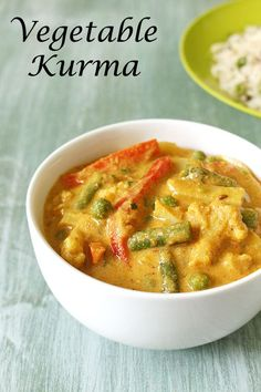 Veg Kurma Recipe (Vegetable Korma): Veg Kurma Recipe or Vegetable Korma Recipe - Mixed vegetables are simmered in mild, creamy, flavorful and aromatic kurma curry. There are many variation in making veg korma based on different region. Different elements are used for making gravy. E.g. Mughlai version has saffron, khoya, nuts to get creamy gravy. Shahi korma which is more of Punjabi style has cream in it. Kashmiri version has nuts, dried fruits and yogurt. South Indian veg kurma has coconut…