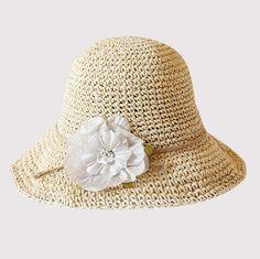 Hand crochet flower straw sun hat for beach ladies package sun hat