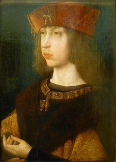 Maestro de la Leyenda de la Magdalena, Felipe el Hermoso, 1499, Louvre. Felipe I (1478-1506), rey de Castilla iure uxoris del 12 de julio al 25 de septiembre de 1506. Casado con Juana I y padre de Carlos I.