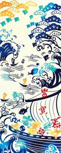 "kenema Chusen Tenugui ""Engi"" Takarabune 36 x 90cm Takarabune (宝船): Treasurer ship"