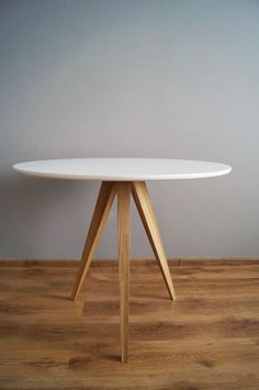 "Table ""Oak and White circle 3"" kitchen table,round table,scandinavian style"