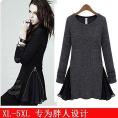 fashion Women Stitch Shirt Tops Blouse Knitwear Fertilizer To Increase Xl-5Xl