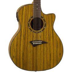 Dean Exotica Zebra Wood Acoustic Electric Guitar EZEBRA