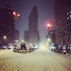Le Flatiron Building sous la neige