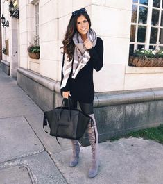 fall outfit - faux leather leggings w/black sweater