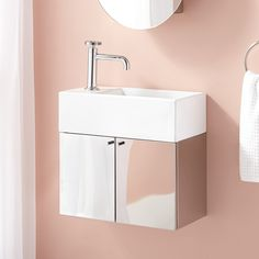 """19"""" Showcase Series Stainless Steel Wall-Hung Vanity- Two Doors- Polished"""