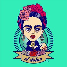 02. 'Dolor' Illustration - Frida Kahlo. by Kevin Ruda, via Behance
