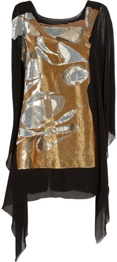 VIONNET PARIS Sequin-embellished Silk-crepe Dress