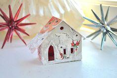 Vintage Christmas Card Glitter House Illuminating by ShesCrafty121, $10.00