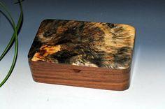Handmade Wooden Stash Box of Buckeye Burl On Walnut -  THE Guy Favorite - Wood Jewelry Box Wooden Jewelry Box Small Wood Box BurlWoodBox by BurlWoodBox