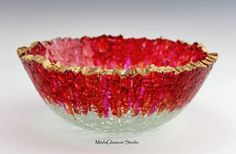 Red Bowl with Gold Rim