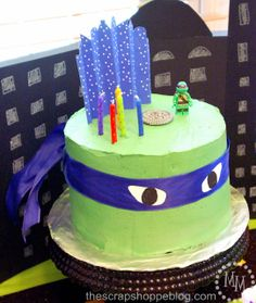 The Scrap Shoppe: Teenage Mutant Ninja Turtle (TMNT) Birthday Party. Great idea for a cake! So simple, easy and cute!