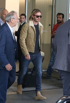 FYI: David Beckham Steps Out In Kent And Curwen Jacket And Saint Laurent Boots