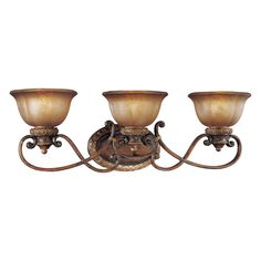 Update your bath or hall decor with the Minka Lavery Illuminati Bath Light. Presented in Illuminati bronze, this fixture can be mounted with the lights up or down. Featuring silver patina glass shades, this light uses 3 standard base bulbs. Tuscan Design, Tuscan Style, Illuminati, Vanity Light Bar, Home Decoracion, Bathroom Vanity Lighting, Light Bathroom, Master Bathroom, Royal Bathroom