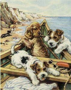 Vintage print of Terrier & Cocker Spaniel puppies by famous British artist Winifred Martin C. 1953. Ready for framing or display, this print