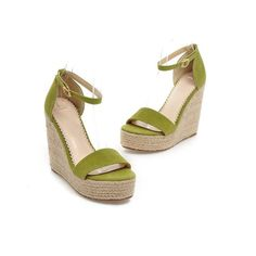 New Women Summer Sandals Wedges Platform High Heels Open Toe Straw Buckle Strap leather shoes