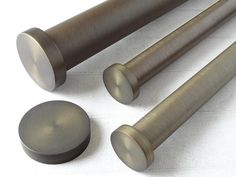 30mm dia. brushed bronze curtain pole with mini disc finials