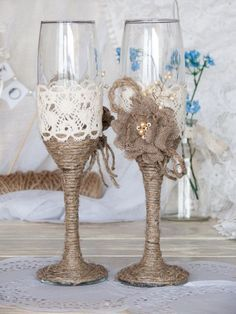 Rustic Chic Wedding glasses with rope, lace, pearl handmade flower by tracie