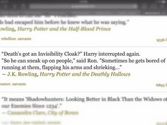 Sarcasm used by JK Rowling in her novel.