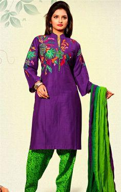 Picture of Angelic Violet  Color Indian Silk Salwar Kameez