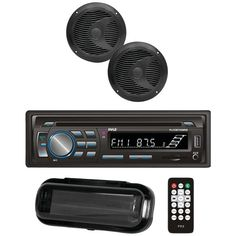 PYLE PLCDBT75MRB Marine Single-DIN In-Dash CD AM-FM Receiver with Two 6.5 Speakers, Splashproof Radio Cover & Bluetooth(R) (Black)