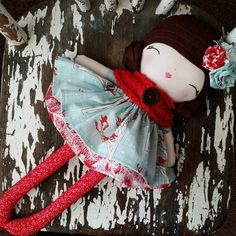 """""""Crimson Beauty ❤ Another lovely lady heading out today. This time to Tokyo!  How exciting! #spuncandydolls #handmadedolls #handmadedoll #clothdoll #etsy…"""""""