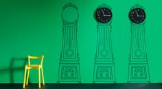 """Tick, tock. A new take on the grandfather clock"" A Mortorp decorative wall sticker from IKEA. Just add wall the clock. What a fun idea."