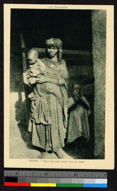 """""""Sahara - Type d'une jeune mzabite avec son enfant"""" circa 1920-40 Orient, Vintage Black, Dame, Collection, Painting, Circa, Hairstyles, Posts, Antique Post Cards"""