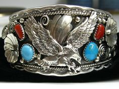 SALE MORENCI Turquoise & Coral Sterling Silver Eagle CUFF Navajo Allen Chee; Shadowbox Bracelet .925 Sterling Silver