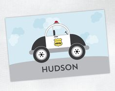 Personalized Placemat - Police Car - laminated, double-sided - Custom Kids / Childrens Placemat by Tickled Peach Studio