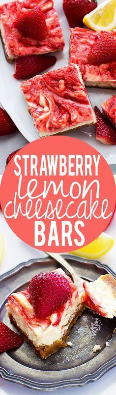 Strawberry Lemon Cheesecake Bars   Creme de la Crumb