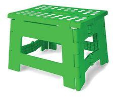 Kikkerland Rhino Easy Fold Step Stool, Short, Green