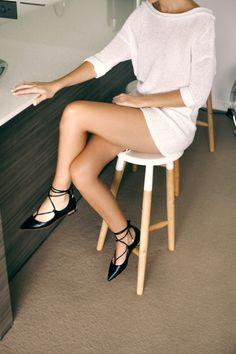 lightweight white knit dress & lace-up flats #style #fashion #shoes #summer #aquazzura