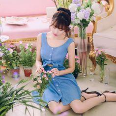 Japanese fashion round neck single-breasted bow Slim dress AddOneClothing.com Size Chart