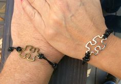 Unisex Adjustable puzzle piece leather bracelet by AdornedBySuzie on Etsy https://www.etsy.com/listing/474935244/unisex-adjustable-puzzle-piece-leather