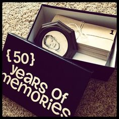 A box filled with 50 years of memories.  See more 50th birthday gift ideas and party ideas at www.one-stop-party-ideas.com