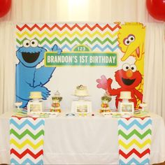 Colorful dessert table at a Sesame Street birthday party! See more party planning ideas at CatchMyParty.com!