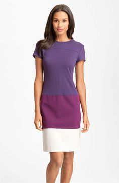Donna Morgan Colorblock Ponte Knit Sheath Dress (Online Exclusive) | Nordstrom.  Sugarplum Multi - great purples.  Sleeves on a Dress, too!  How novel!