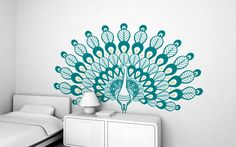 peacock (XXL) wall decal - children's wall stickers for baby nursery or kids room by E-Glue studio