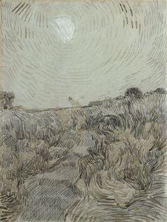 Van Gogh - Evening Landscape with Two Peasants, 1890 Landscape Sketch, Landscape Drawings, Abstract Landscape, Pierre Auguste Renoir, Edouard Manet, Vincent Van Gogh, Desenhos Van Gogh, Charles Gleyre, Van Gogh Drawings
