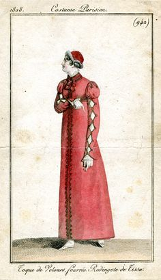 Red redingote 1808 Costume parisien